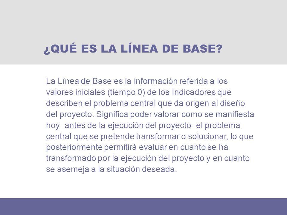 La Línea de Base es la información referida a los valores iniciales (tiempo 0) de los Indicadores que describen el problema central que da origen al d