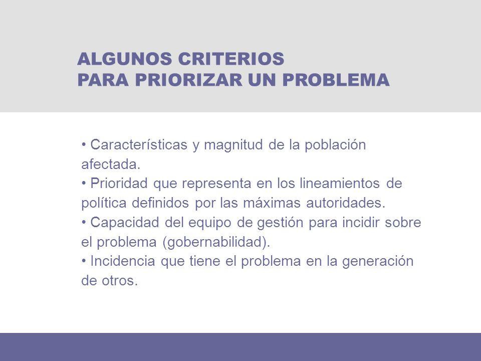 Características y magnitud de la población afectada. Prioridad que representa en los lineamientos de política definidos por las máximas autoridades. C