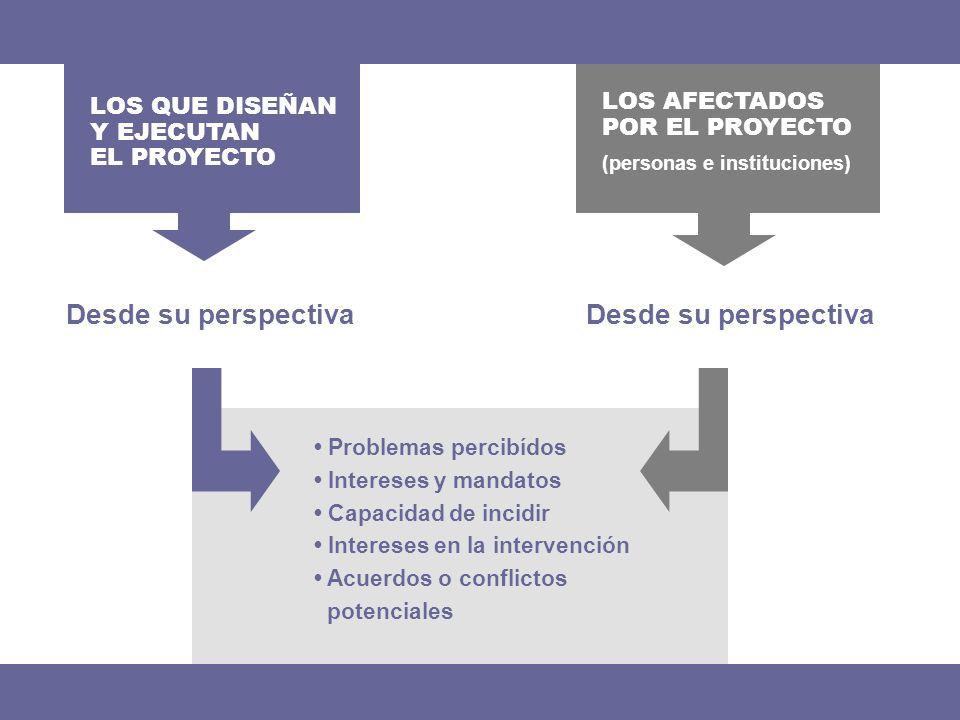 Desde su perspectiva LOS QUE DISEÑAN Y EJECUTAN EL PROYECTO Problemas percibídos Intereses y mandatos Capacidad de incidir Intereses en la intervenció