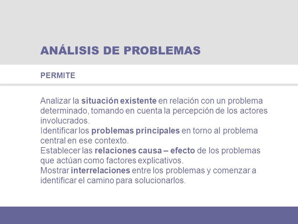 ANÁLISIS DE PROBLEMAS Analizar la situación existente en relación con un problema determinado, tomando en cuenta la percepción de los actores involucr