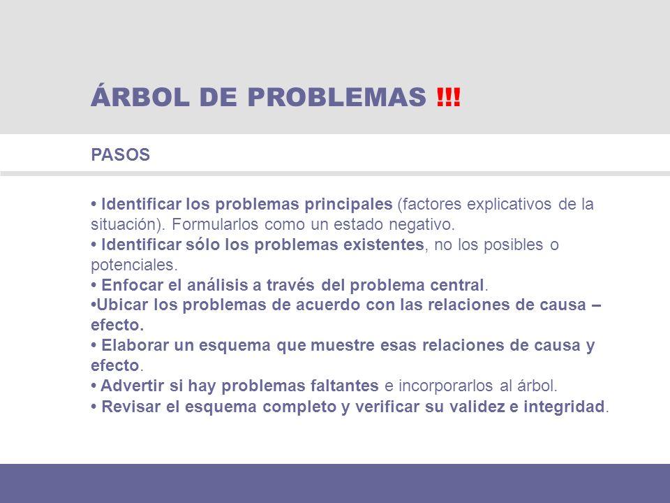 Identificar los problemas principales (factores explicativos de la situación). Formularlos como un estado negativo. Identificar sólo los problemas exi