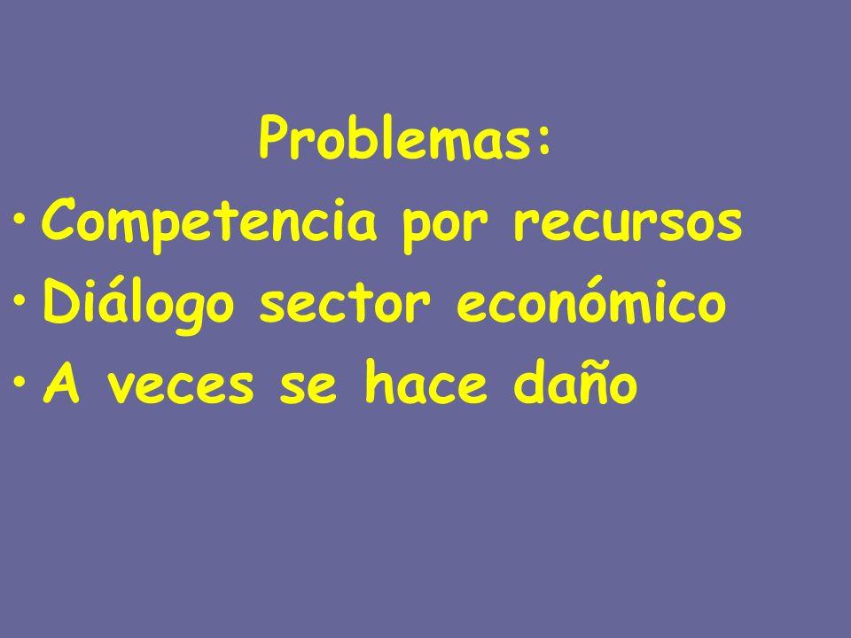 Problemas: Competencia por recursos Diálogo sector económico A veces se hace daño