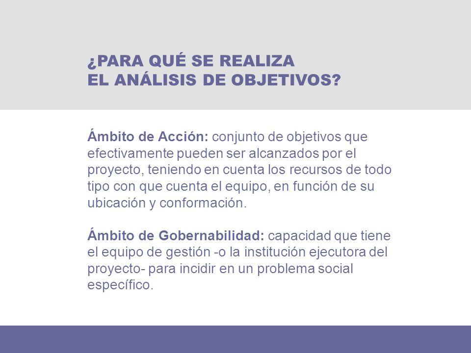 Ámbito de Acción: conjunto de objetivos que efectivamente pueden ser alcanzados por el proyecto, teniendo en cuenta los recursos de todo tipo con que