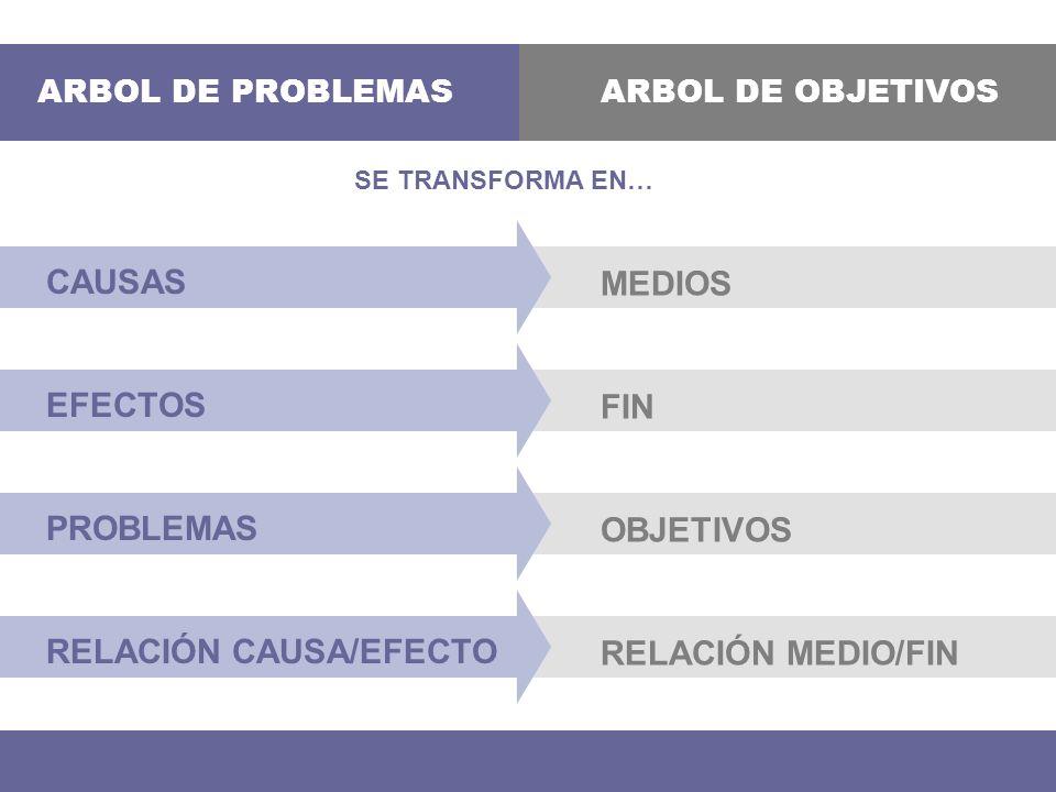 SE TRANSFORMA EN… ARBOL DE PROBLEMASARBOL DE OBJETIVOS CAUSAS MEDIOS EFECTOS FIN PROBLEMAS OBJETIVOS RELACIÓN CAUSA/EFECTO RELACIÓN MEDIO/FIN
