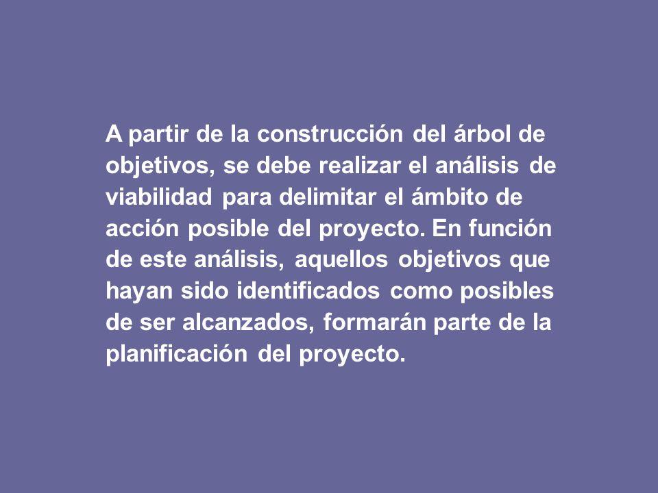A partir de la construcción del árbol de objetivos, se debe realizar el análisis de viabilidad para delimitar el ámbito de acción posible del proyecto