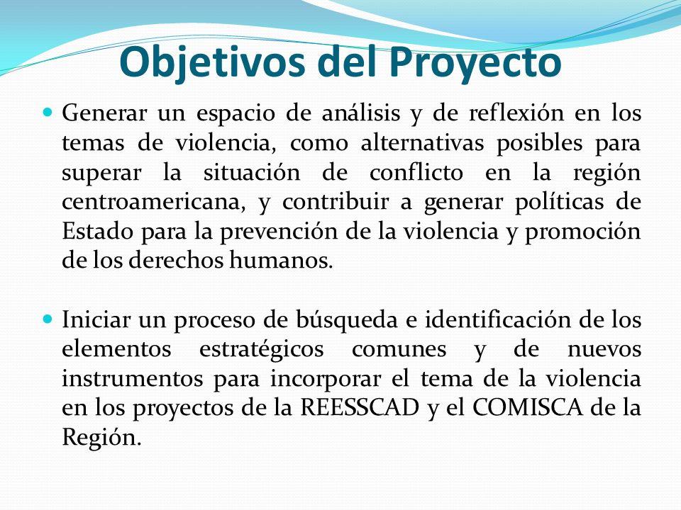 Objetivos del Proyecto Generar un espacio de análisis y de reflexión en los temas de violencia, como alternativas posibles para superar la situación d