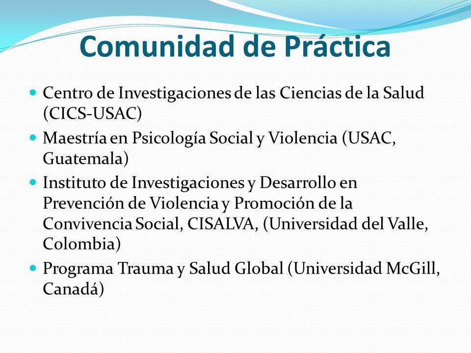 Comunidad de Práctica Centro de Investigaciones de las Ciencias de la Salud (CICS-USAC) Maestría en Psicología Social y Violencia (USAC, Guatemala) In