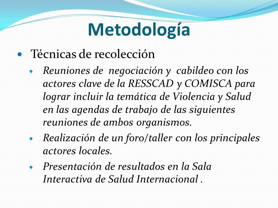 Metodología Técnicas de recolección Reuniones de negociación y cabildeo con los actores clave de la RESSCAD y COMISCA para lograr incluir la temática