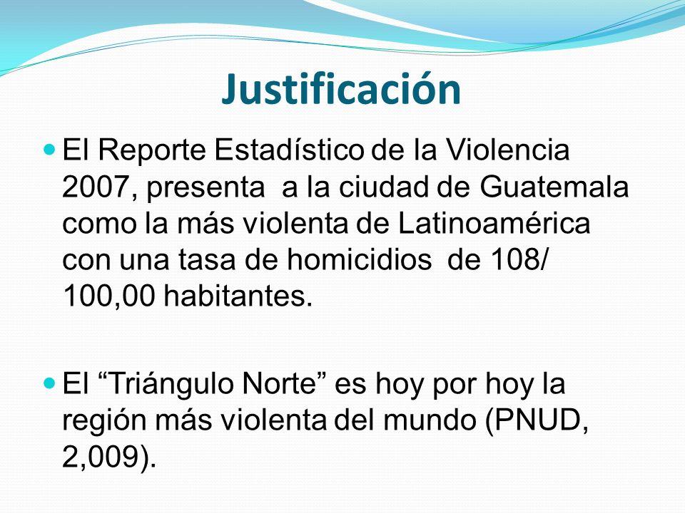 Justificación El Reporte Estadístico de la Violencia 2007, presenta a la ciudad de Guatemala como la más violenta de Latinoamérica con una tasa de hom