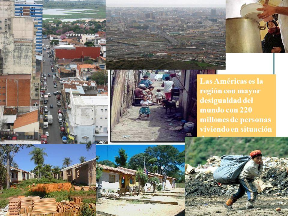 Región Coeficiente promedio de Gini America Latina y el Caribe49.8 África subsahariana46.1 Medio Oriente y & Norte de Africa40.5 Asia Oriental y el Pacífico38.8 Asia del Sur35.1 Países Industriales y de alto ingreso34.3 Europa del Este26.6 La Región más Desigual del Mundo Source: UNDP/2007-2008 La décima parte mas rica de la población de América Latina gana el 48% del total de ingresos, mientras que la décima parte más pobre gana el 1.6% EN CONTRASTE En los países industrializados, la décima parte de la población de mayores ingresos recibe 29.1% mientras que la décima parte de menores ingresos gana 2.5% LAC es la región más injusta del mundo con el mayor Coeficiente promedio de Gini.