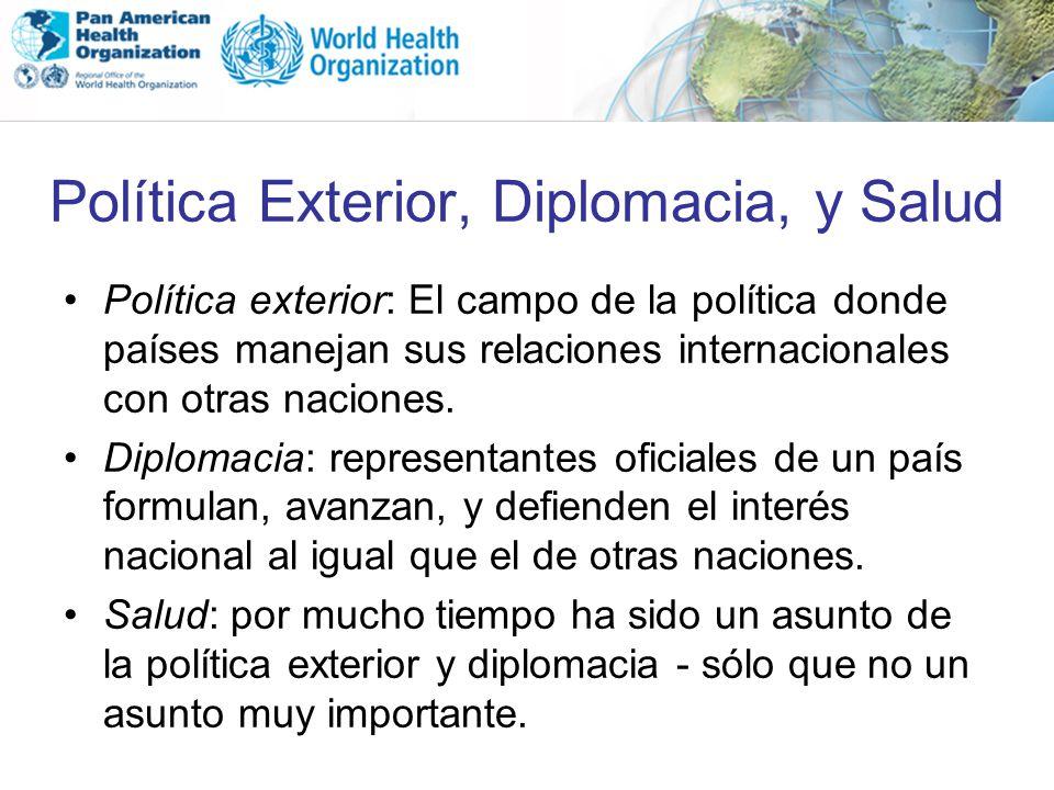 Política Exterior, Diplomacia, y Salud Política exterior: El campo de la política donde países manejan sus relaciones internacionales con otras nacion