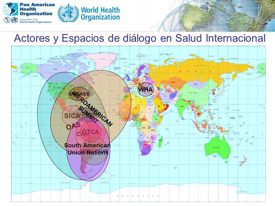 Actores y Espacios de diálogo en Salud Internacional CAN MERCOSUR ÒTCA CARICOM SICA OAS IBEROAMERICAN SUMMIT WHA UNGASS South American Union Nations