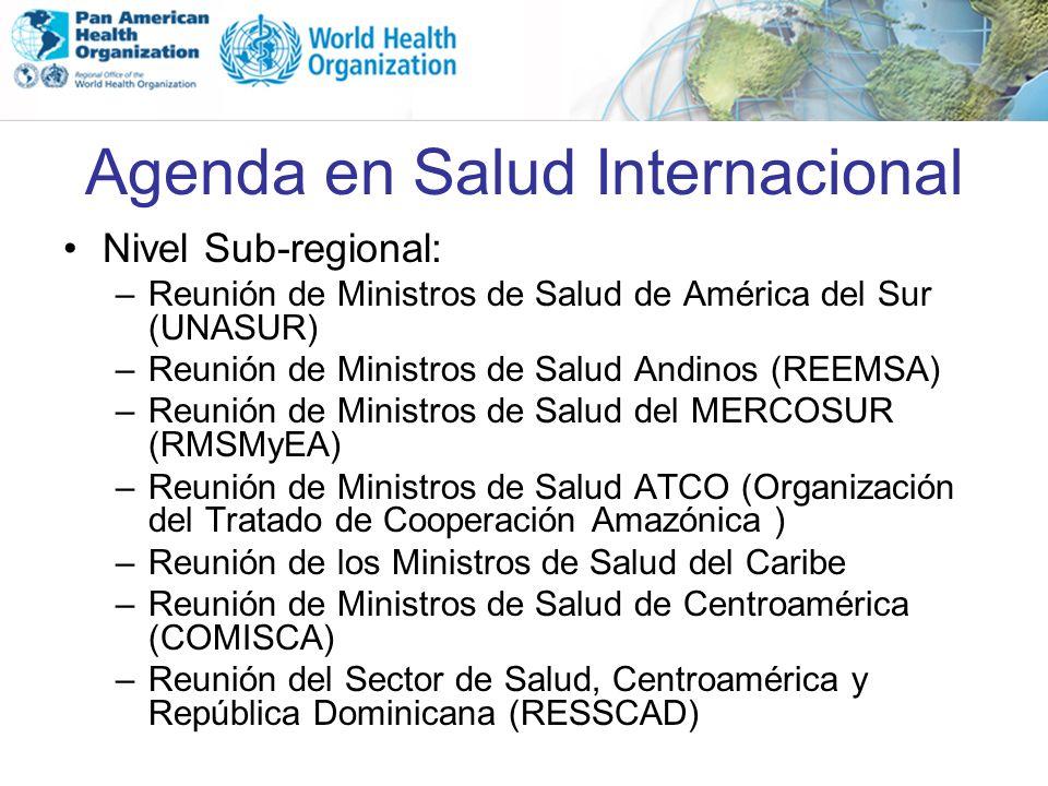 Agenda en Salud Internacional Nivel Sub-regional: –Reunión de Ministros de Salud de América del Sur (UNASUR) –Reunión de Ministros de Salud Andinos (R