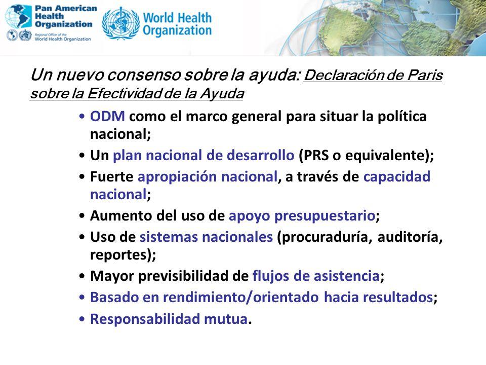 Un nuevo consenso sobre la ayuda: Declaración de Paris sobre la Efectividad de la Ayuda ODM como el marco general para situar la política nacional; Un