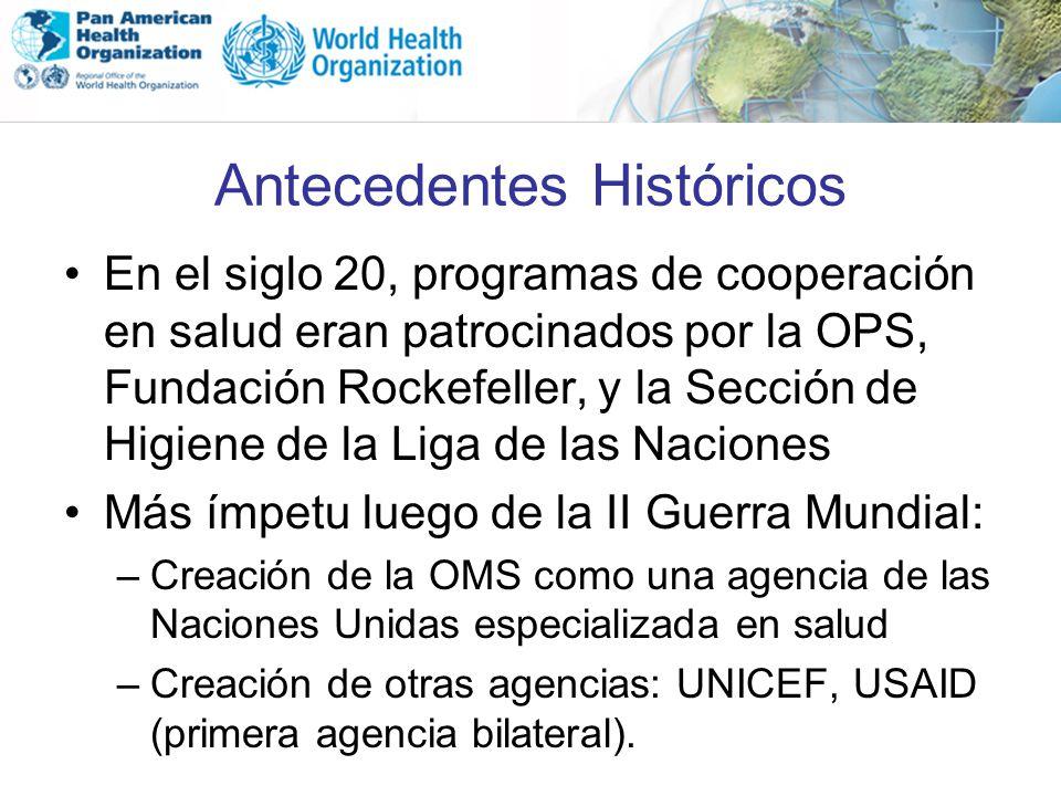 Antecedentes Históricos En el siglo 20, programas de cooperación en salud eran patrocinados por la OPS, Fundación Rockefeller, y la Sección de Higiene