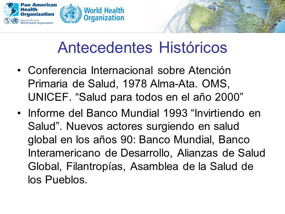 Antecedentes Históricos Conferencia Internacional sobre Atención Primaria de Salud, 1978 Alma-Ata. OMS, UNICEF. Salud para todos en el año 2000 Inform