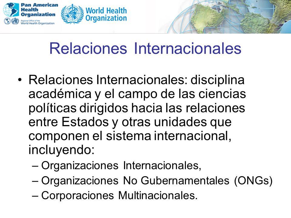 Relaciones Internacionales Relaciones Internacionales: disciplina académica y el campo de las ciencias políticas dirigidos hacia las relaciones entre