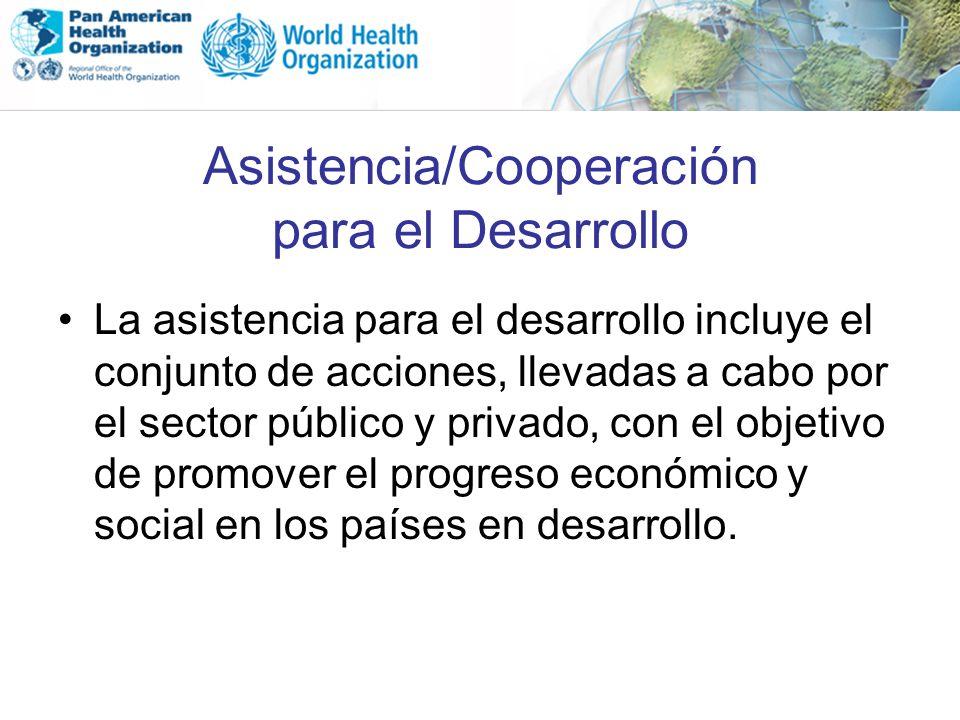 Asistencia/Cooperación para el Desarrollo La asistencia para el desarrollo incluye el conjunto de acciones, llevadas a cabo por el sector público y pr