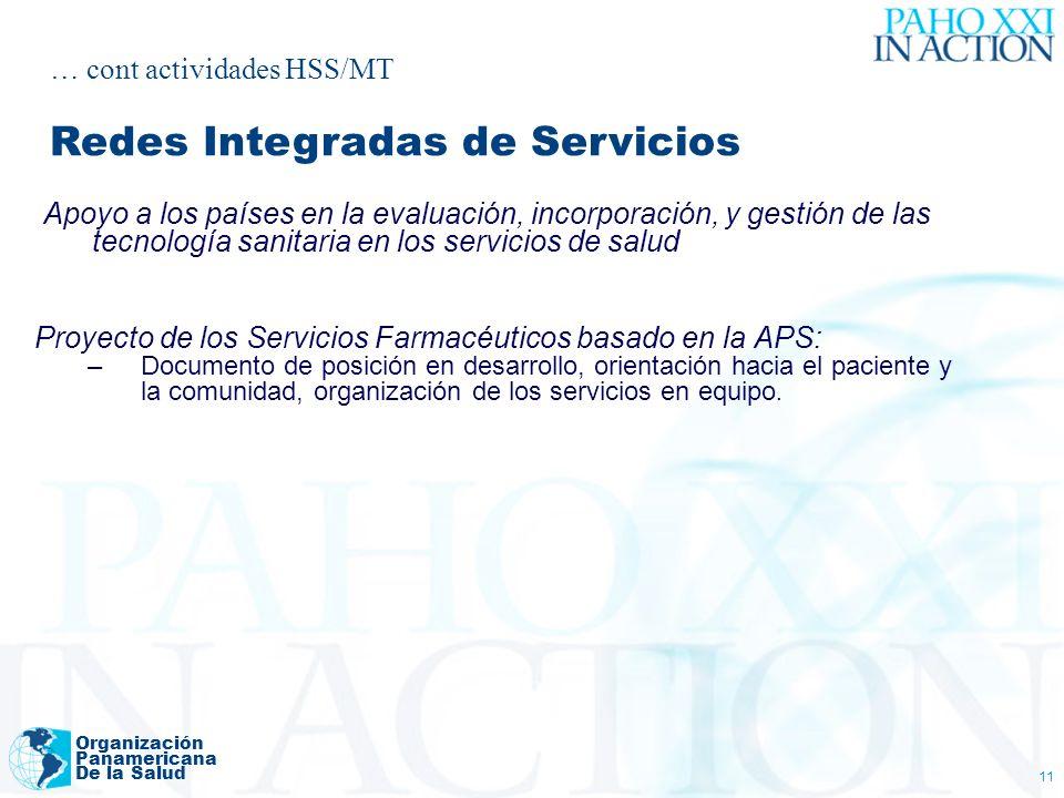 Organización Panamericana De la Salud 11 Apoyo a los países en la evaluación, incorporación, y gestión de las tecnología sanitaria en los servicios de salud Proyecto de los Servicios Farmacéuticos basado en la APS: –Documento de posición en desarrollo, orientación hacia el paciente y la comunidad, organización de los servicios en equipo.