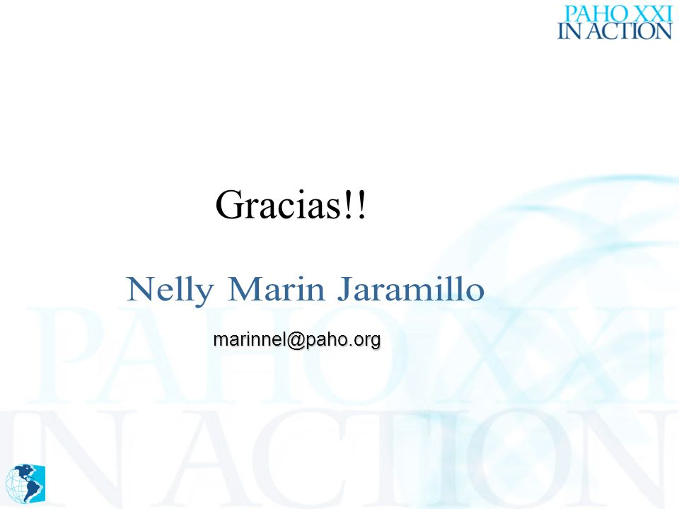 Gracias!! marinnel@paho.org