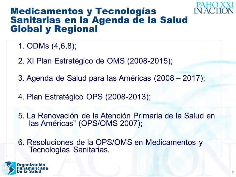 Organización Panamericana De la Salud 3 Resoluciones Principales CD45.R7 (2004) Acceso a los Medicamentos CD47.R7 (2006) La Salud Publica, las Investigaciones Sanitarias, la Producción de los Medicamentos Esenciales, y Acceso a los mismos.