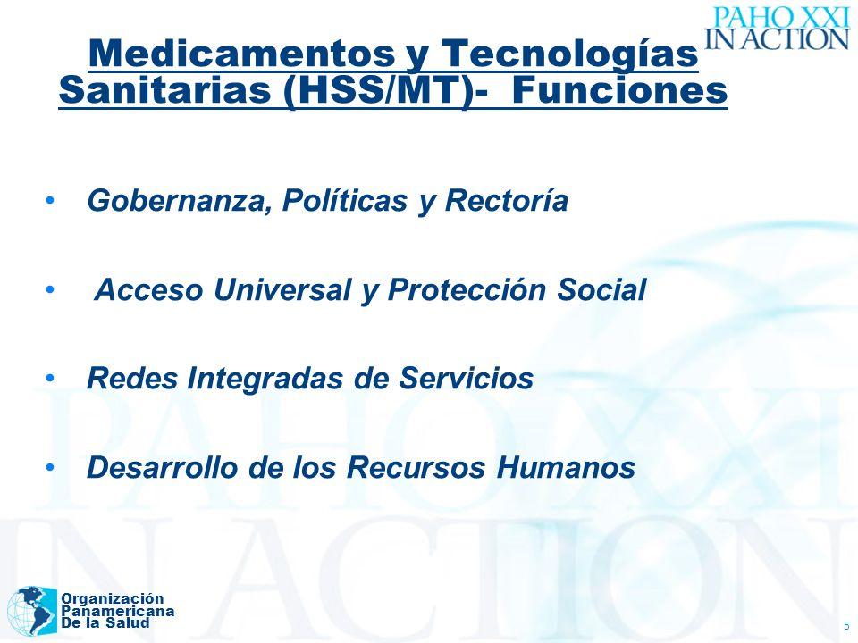 Medicamentos y Tecnologías Sanitarias (HSS/MT)- Funciones Organización Panamericana De la Salud 5 Gobernanza, Políticas y Rectoría Acceso Universal y Protección Social Redes Integradas de Servicios Desarrollo de los Recursos Humanos