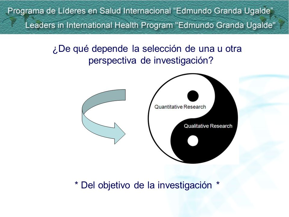 ¿De qué depende la selección de una u otra perspectiva de investigación? * Del objetivo de la investigación *