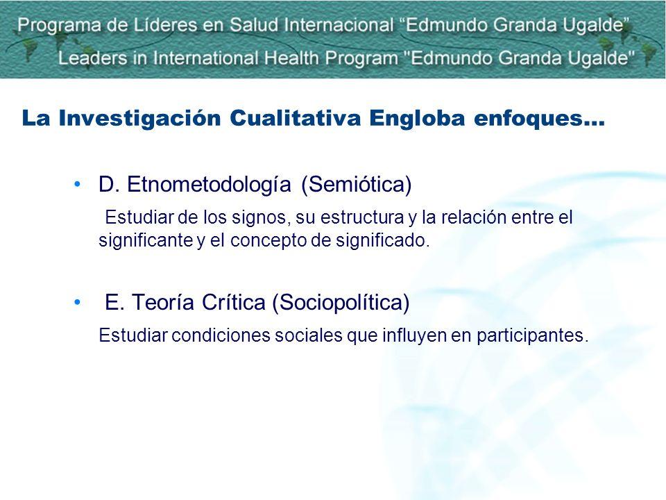 D. Etnometodología (Semiótica) Estudiar de los signos, su estructura y la relación entre el significante y el concepto de significado. E. Teoría Críti