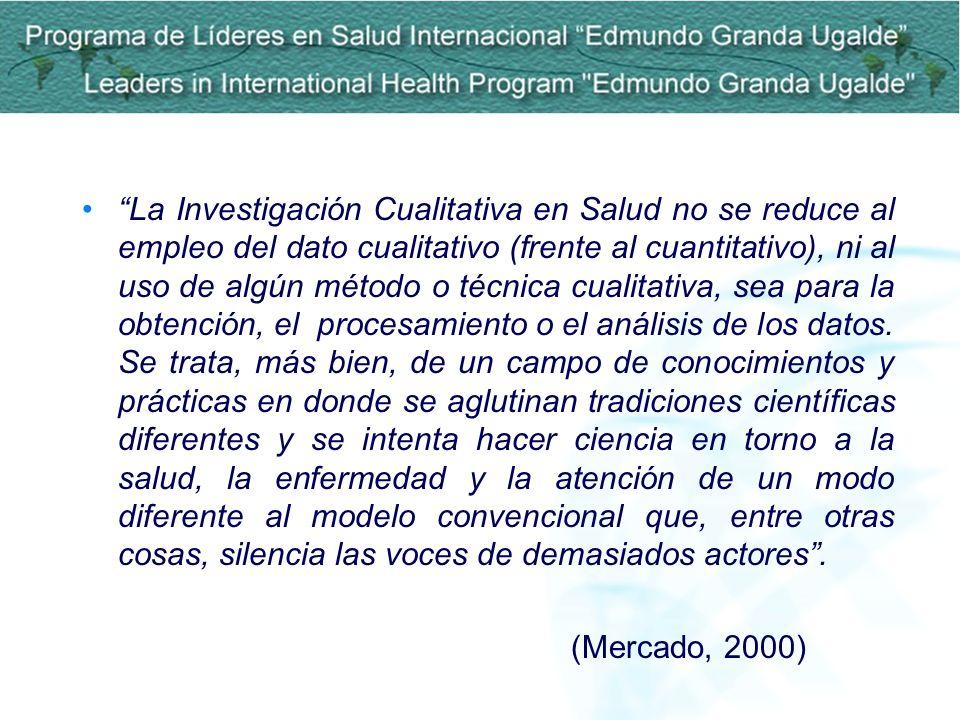 La Investigación Cualitativa en Salud no se reduce al empleo del dato cualitativo (frente al cuantitativo), ni al uso de algún método o técnica cualit