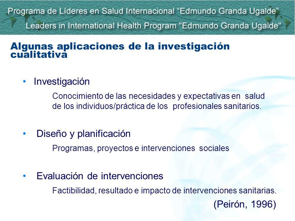 Investigación Conocimiento de las necesidades y expectativas en salud de los individuos/práctica de los profesionales sanitarios. Diseño y planificaci