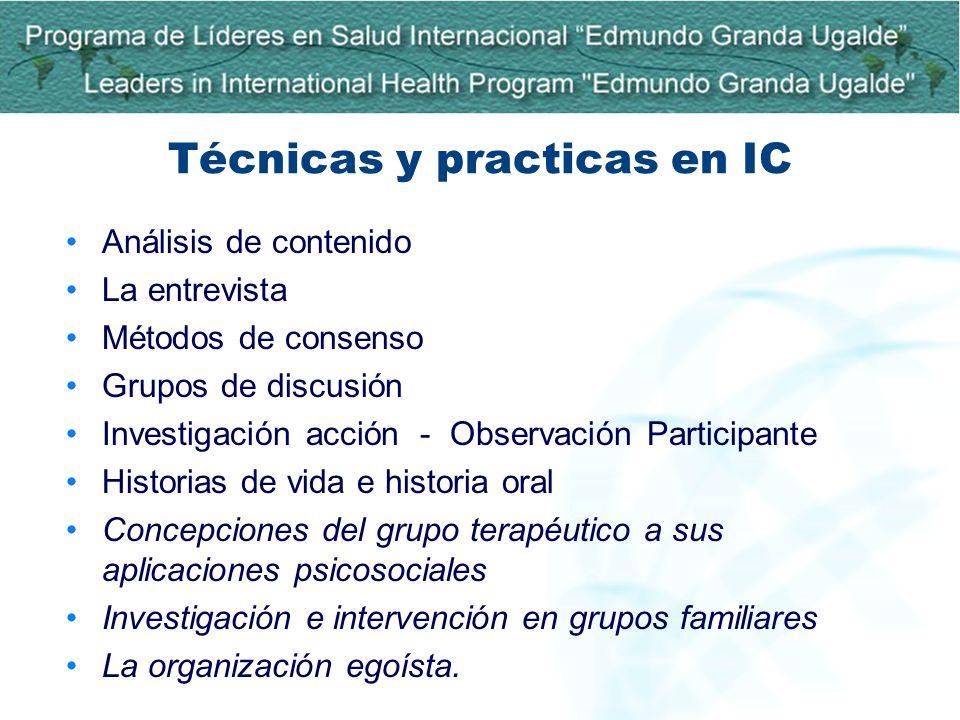 Técnicas y practicas en IC Análisis de contenido La entrevista Métodos de consenso Grupos de discusión Investigación acción - Observación Participante