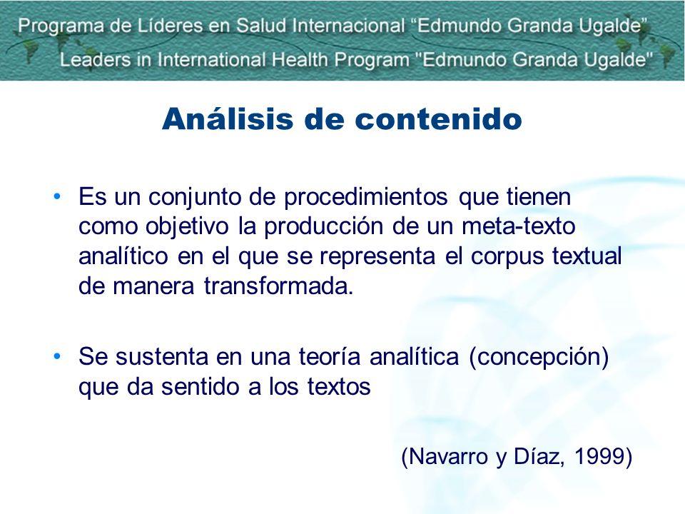 Análisis de contenido Es un conjunto de procedimientos que tienen como objetivo la producción de un meta-texto analítico en el que se representa el co