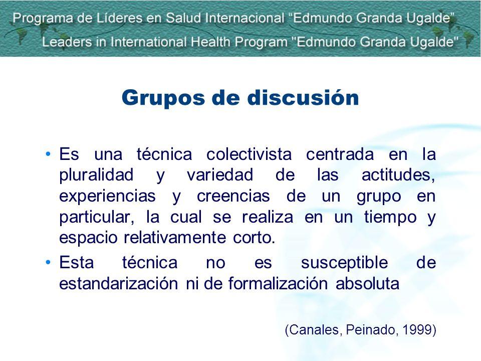 Grupos de discusión Es una técnica colectivista centrada en la pluralidad y variedad de las actitudes, experiencias y creencias de un grupo en particu