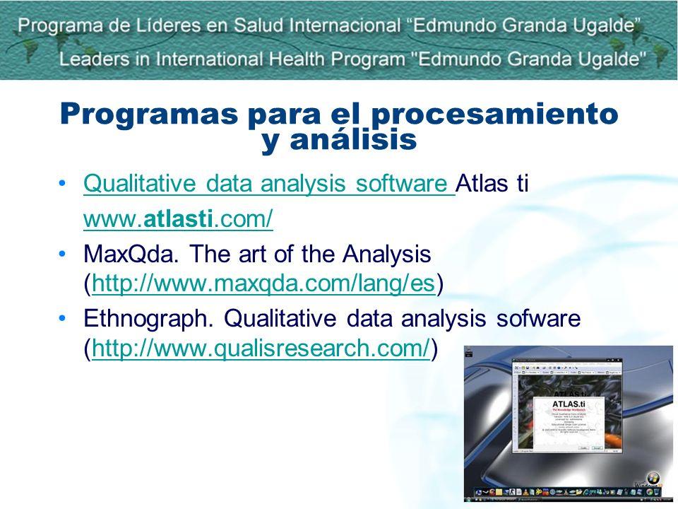 Programas para el procesamiento y análisis Qualitative data analysis software Atlas tiQualitative data analysis software www.atlasti.com/ MaxQda. The