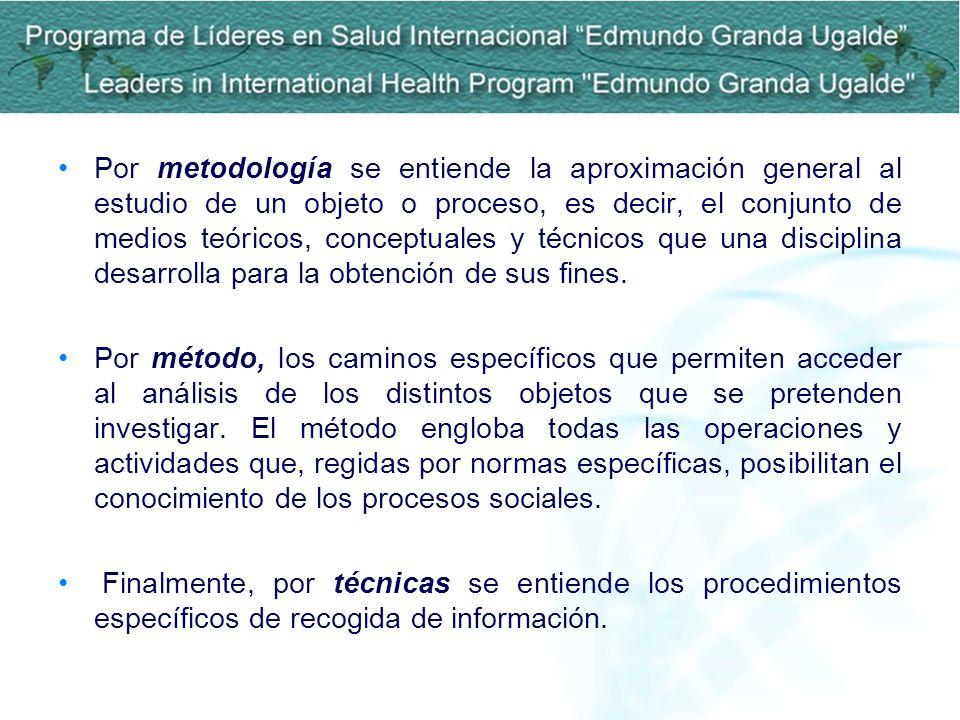 Por metodología se entiende la aproximación general al estudio de un objeto o proceso, es decir, el conjunto de medios teóricos, conceptuales y técnic