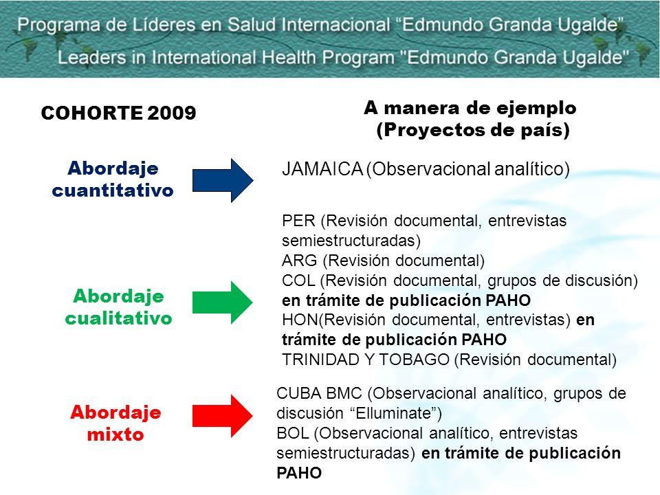 COHORTE 2009 Abordaje cuantitativo Abordaje cualitativo Abordaje mixto JAMAICA (Observacional analítico) PER (Revisión documental, entrevistas semiest