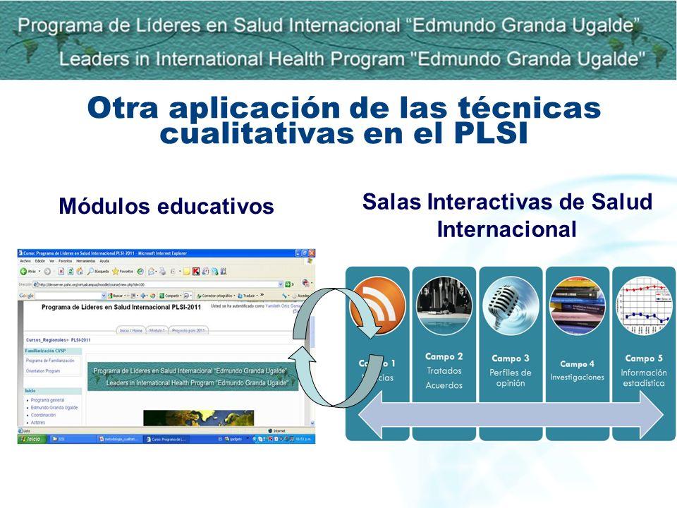 Otra aplicación de las técnicas cualitativas en el PLSI Módulos educativos Salas Interactivas de Salud Internacional