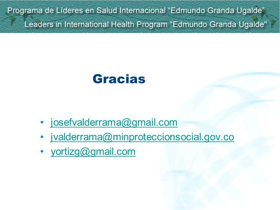 Gracias josefvalderrama@gmail.com jvalderrama@minproteccionsocial.gov.co yortizg@gmail.com