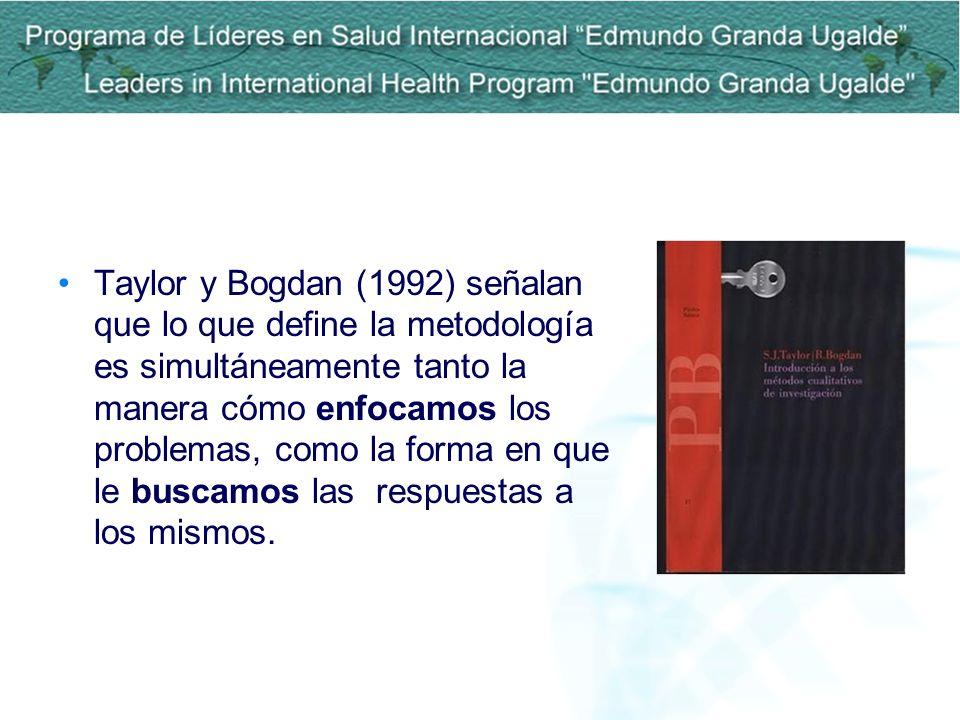 Taylor y Bogdan (1992) señalan que lo que define la metodología es simultáneamente tanto la manera cómo enfocamos los problemas, como la forma en que