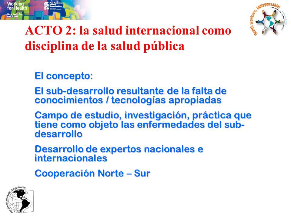 ACTO 2: la salud internacional como disciplina de la salud pública El concepto: El sub-desarrollo resultante de la falta de conocimientos / tecnología