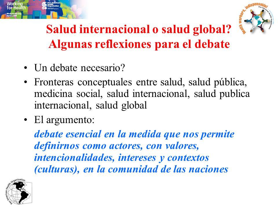 Salud internacional o salud global? Algunas reflexiones para el debate Un debate necesario? Fronteras conceptuales entre salud, salud pública, medicin