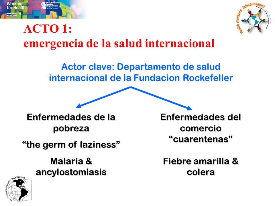 ACTO 1: emergencia de la salud internacional Actor clave: Departamento de salud internacional de la Fundacion Rockefeller Enfermedades de la pobreza t