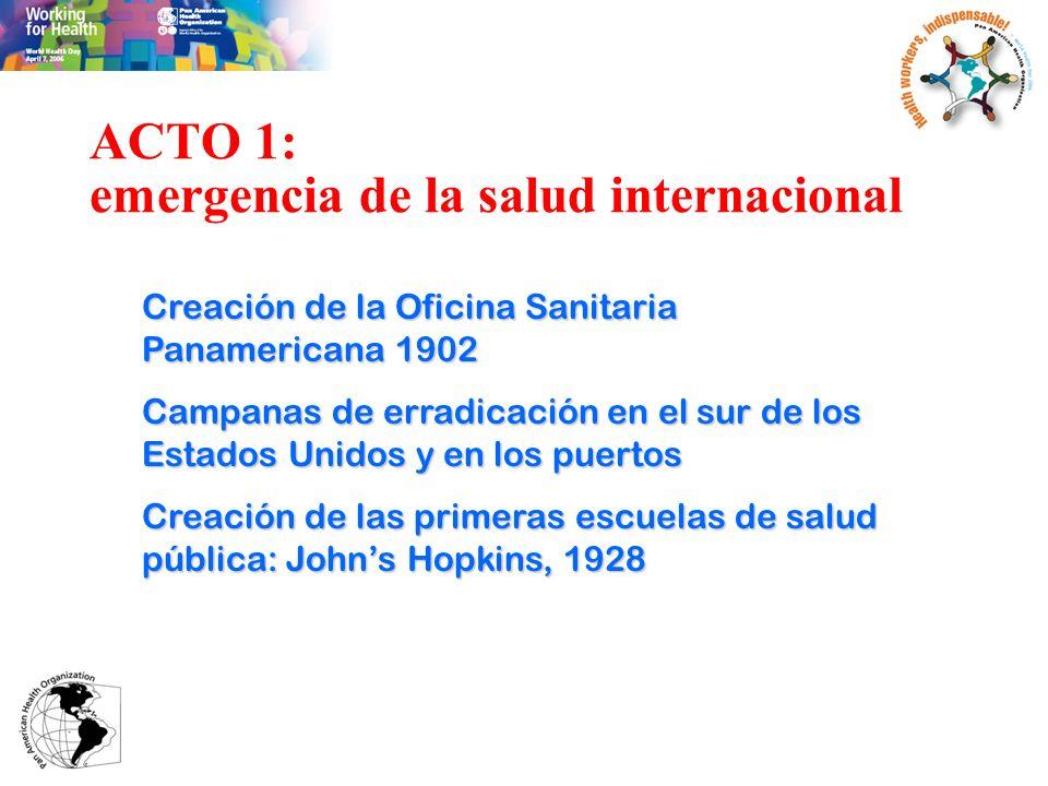 ACTO 1: emergencia de la salud internacional Salud internacional: extensión de los programas exitosos de la Rockefeller en el sur de EEUU a otros países (México, China), en un momento de expansionismo internacional de la influencia y de los intereses norteamericanos, basados en la relación ciencia – progreso, en ruptura con los modelos europeos de medicina colonial / tropical