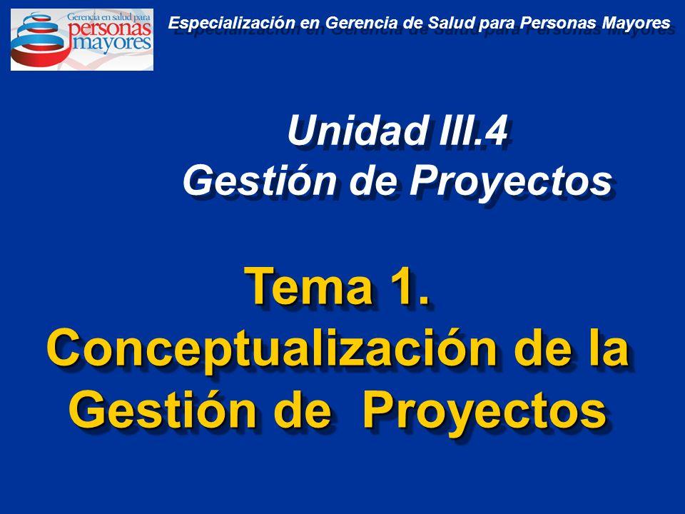 Tema 1. Conceptualización de la Gestión de Proyectos Tema 1. Conceptualización de la Gestión de Proyectos Unidad III.4 Gestión de Proyectos Unidad III