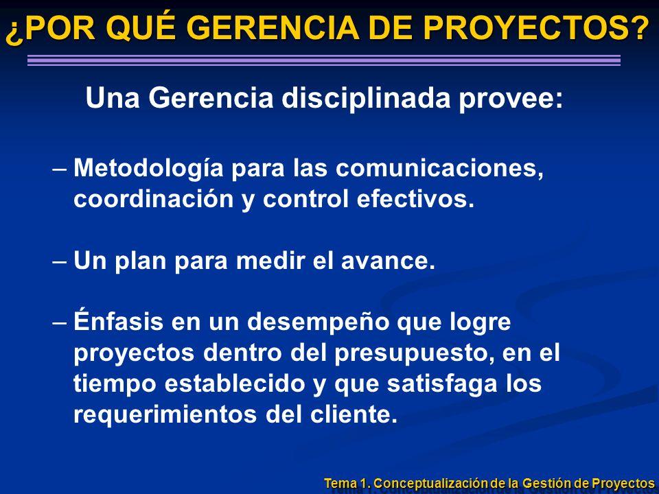 Una Gerencia disciplinada provee: –Metodología para las comunicaciones, coordinación y control efectivos. –Un plan para medir el avance. –Énfasis en u