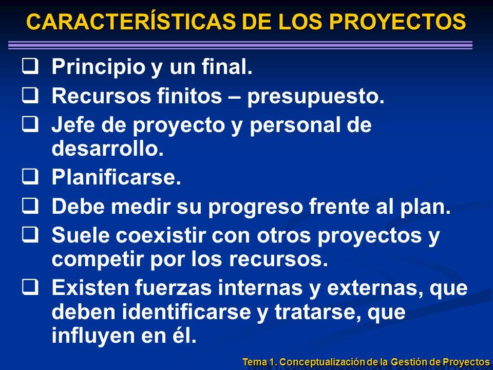 Principio y un final. Recursos finitos – presupuesto. Jefe de proyecto y personal de desarrollo. Planificarse. Debe medir su progreso frente al plan.