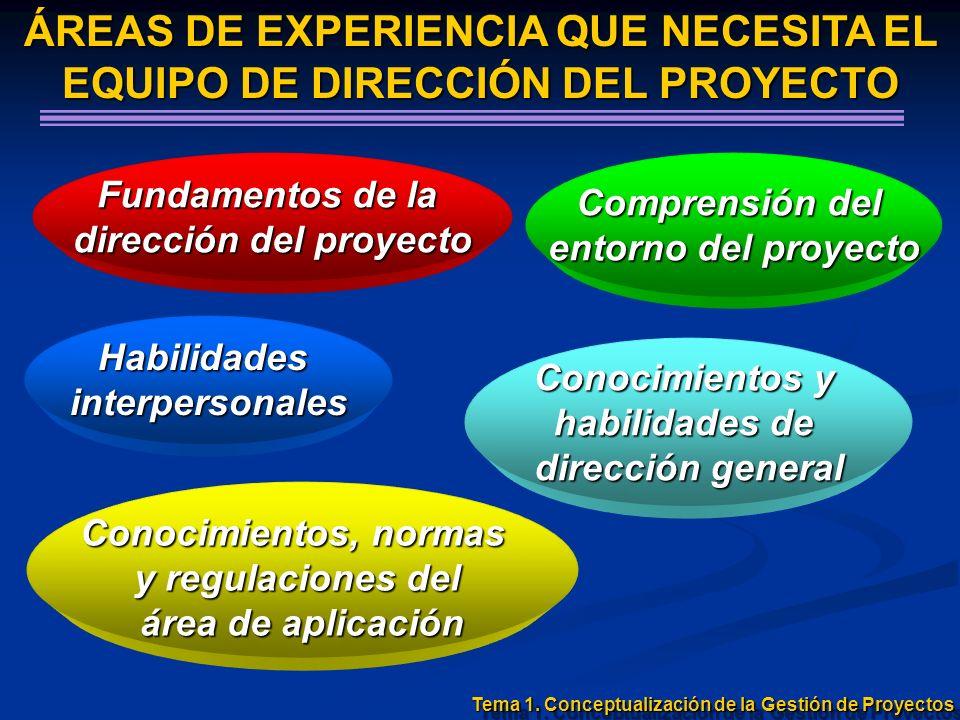 ÁREAS DE EXPERIENCIA QUE NECESITA EL EQUIPO DE DIRECCIÓN DEL PROYECTO Fundamentos de la dirección del proyecto Habilidadesinterpersonales Conocimiento