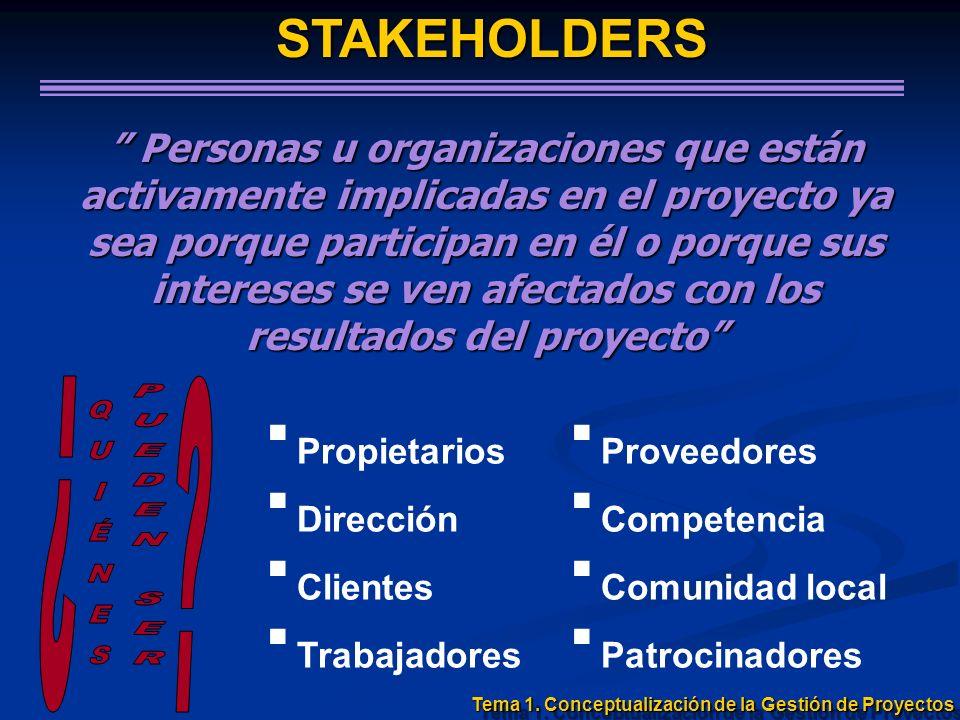 STAKEHOLDERS Personas u organizaciones que están activamente implicadas en el proyecto ya sea porque participan en él o porque sus intereses se ven af