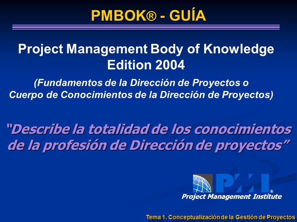Project Management Body of Knowledge Edition 2004 (Fundamentos de la Dirección de Proyectos o Cuerpo de Conocimientos de la Dirección de Proyectos) ®