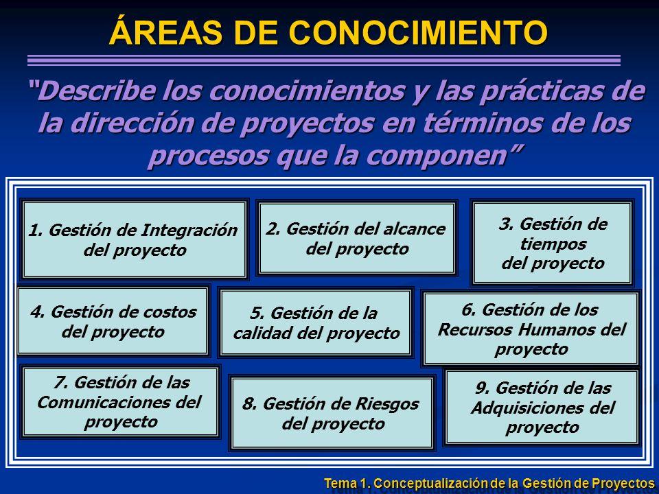 ÁREAS DE CONOCIMIENTO Describe los conocimientos y las prácticas de la dirección de proyectos en términos de los procesos que la componen 4. Gestión d